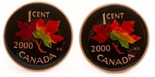 Canadian Maple Leaf Coin Cufflinks - Hand Painted