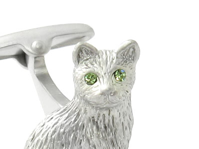 Cat Cufflinks with Swarovski Eyes