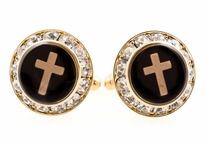 Christian Cross Crystal Cufflinks