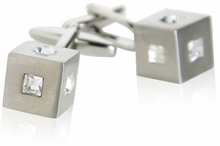 Crystal Cubic Cufflinks in Clear