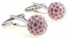 Crystal Pink Ball Cufflinks