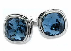 Denim Blue Crystal Cufflinks