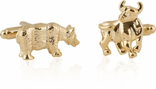 Detailed Gold Bull and Bear Cufflinks