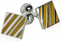 Diagonal Striped Yellow Cufflinks