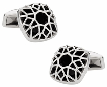 Domed & Caged Stainless Steel Cufflinks