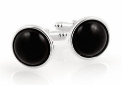 Domed Onyx Cufflinks with Sterling Silver Plate