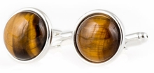 Domed Tiger Eye Cufflinks with Sterling Silver Plate