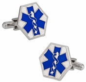EMT Paramedic Star of Life Blue Cufflinks