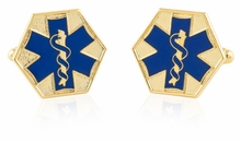 EMT Star of Life Blue Goldtone Cufflinks