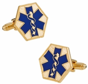 EMT Paramedic Star of Life Blue Goldtone Cufflinks