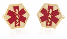 EMT Star of Life Red Goldtone Cufflinks