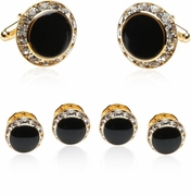 Enamel and CZ Cufflinks and Studs Formal Set