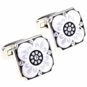 Enamel Crystal Cufflinks in Black and White