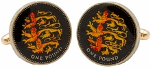 England 3 Lions Pound Cufflinks - Hand Painted