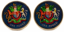 English Pound Unicorn Coin Cufflinks - Hand Painted
