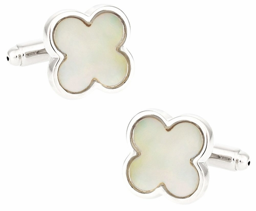 Exotic Mother of Pearl Clover Cufflinks