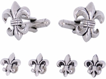 Fleur De Lis Cufflinks and Studs in Antique Silver