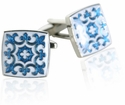 Fleur Di Lis Cuff Links in Blue & White