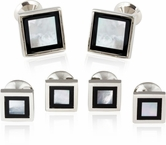 Framed Mother of Pearl Onyx Tuxedo Set