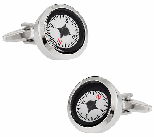 Functional White Compass Cufflinks
