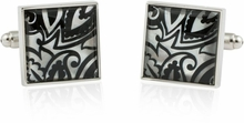 Genuine Mother of Pearl Black Print Cufflinks