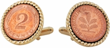 German 2 Pfennig Coin Cufflinks