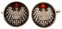 German Eagle Coin Cufflinks - Hand Painted
