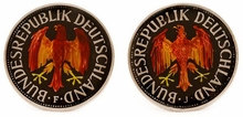 German Mark Coin Cufflinks - Hand Painted
