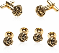 Gold Knot Cufflinks and Studs Formal Sets
