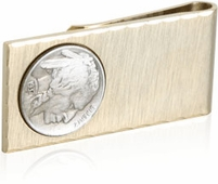 Gold Money Clip with Buffalo Nickel