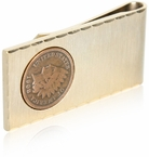Gold Money Clip with Wheat Penny