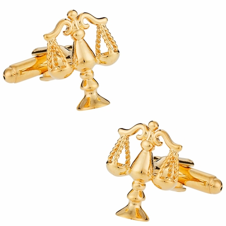 Gold Tone Scales of Justice Cufflinks