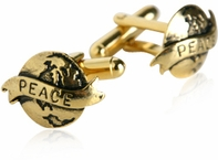 Gold World Peace Cufflinks