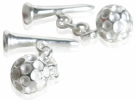 Golf Ball & Tee Cufflinks in Sterling Silver