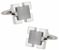 Gray Glass Medalliion Cufflinks