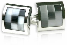 Gray Glass Mosaic Cufflinks