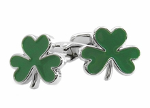 Green 3 Leaf Clover Cufflinks