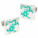 Green Dragon Cufflinks in Stainless Steel
