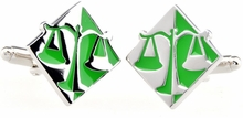 Green Silver Scales of Justice Cufflinks