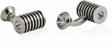 Gunmetal Black Diamond Swarovski Barrel Cufflinks