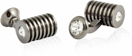 Gunmetal Clear Swarovski Barrel Cufflinks