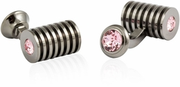 Gunmetal Light Rose Swarovski Barrel Cufflinks