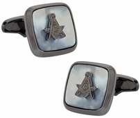 Gunmetal Mother of Pearl Masonic Cufflinks