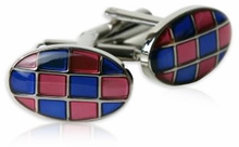 Harlequin Pink Blue Cufflinks