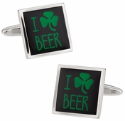 I Love Beer Irish Cufflinks