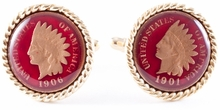 Indian Head Penny Cufflinks - Hand Painted