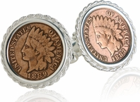 Indian Head Penny Cufflinks in Sterling Silver