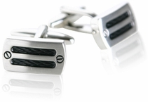Industrial Rhodium Silver Cufflinks