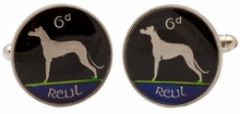 Ireland Dog Coin Cufflinks Hand Painted