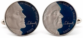Jefferson Nickel Profile Coin Cufflinks